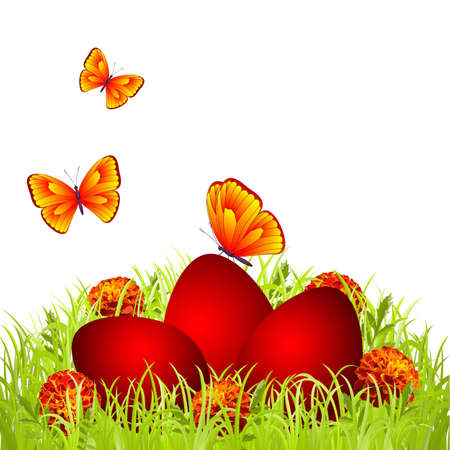 Three red Easter eggs in the grass with flowers and butterflies Vector