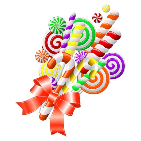 golosinas: Mont�n de caramelos de colores con cinta roja Vectores