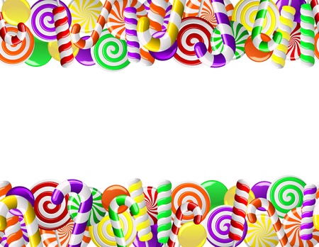 Frame made of colorful candies  Seamless pattern Vector