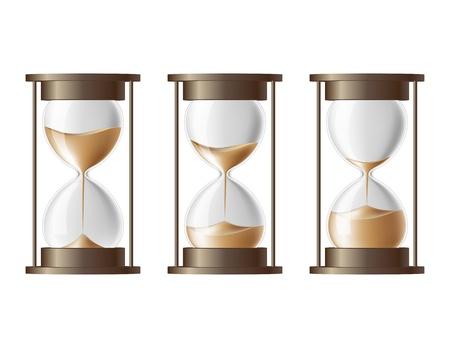 reloj de arena: La arena que cae en el reloj de arena en tres estados diferentes