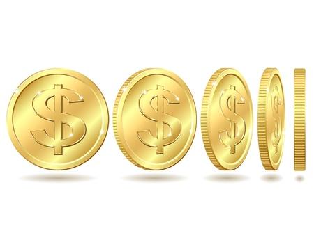 Gold coin: Đồng tiền vàng với dấu đô la với các góc khác nhau Vector minh họa bị cô lập trên nền trắng