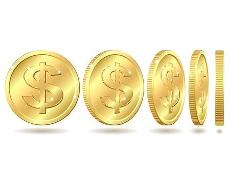 golden coins: Gold coin with dollar sign with different angles   Vector illustration isolated on white background