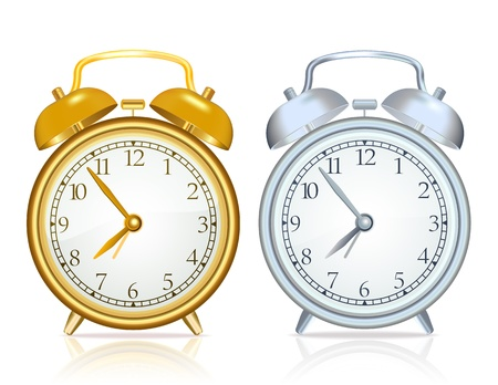 gold rush: Gold alarm clock and silver alarm clock on white background Illustration