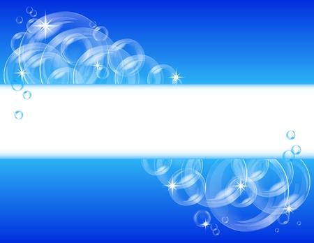 jabon liquido: Bandera azul abstracto con fondo transparente Vector burbujas