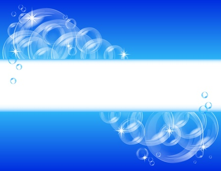 Blue abstract banner with transparent bubbles  Vector background
