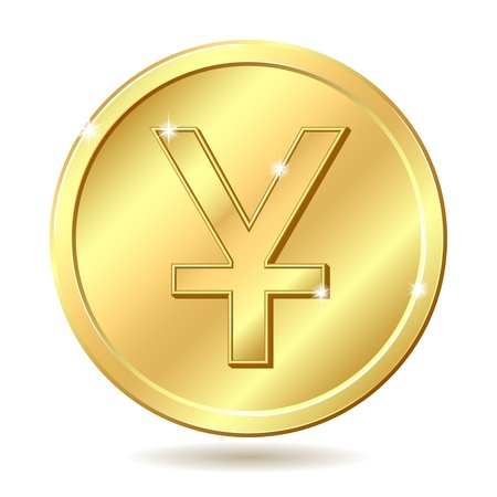 yuan: Gold coin with yuan sign illustration isolated on white background