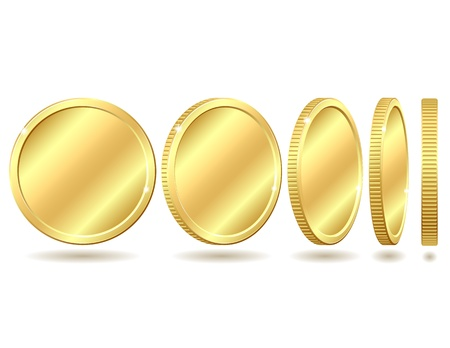 Gold coin with different angles Vector