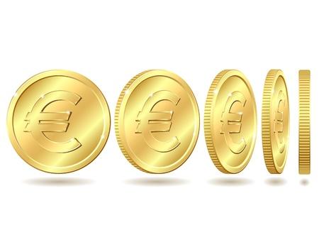 euro teken: Gouden munt met euro teken met verschillende hoeken Stock Illustratie