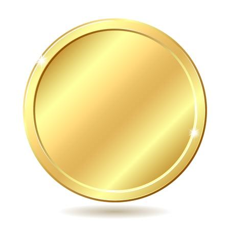 dorato: Illustrazione moneta d'oro isolato su sfondo bianco Vettoriali