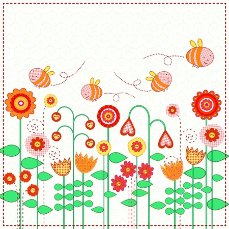 Cute bees are flying over flower meadow Vector