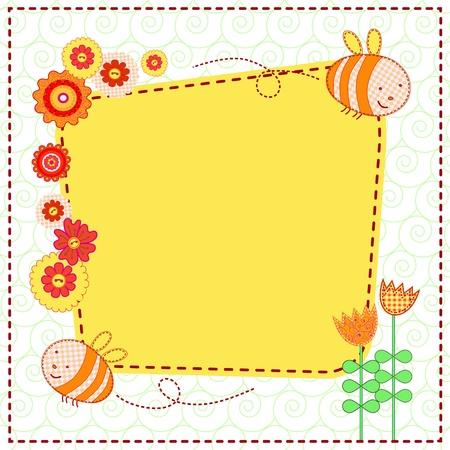 bee garden: tarjeta con hermosas flores y las abejas lindo Vectores