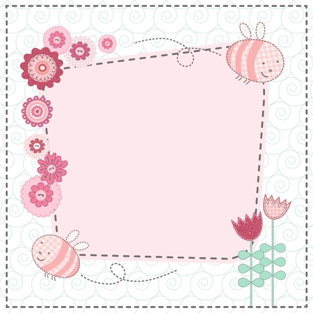 card with lovely flowers and the cute bees Vector