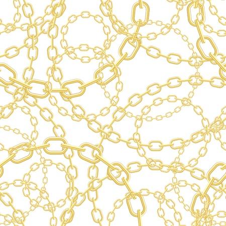 in ketten: Gold-Kette auf wei�em nahtlose Vektor Hintergrund