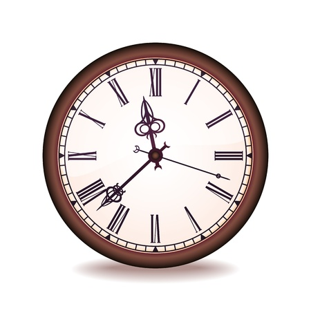 Vintage wall clock with the Roman figures Vector