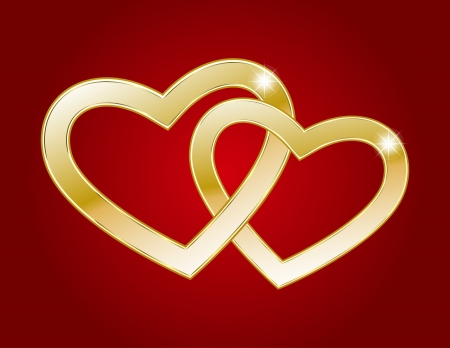 Two hearts of gold on a red background Stock Vector - 13885265