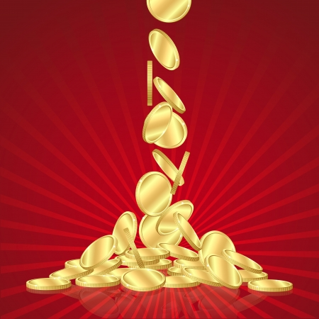 falling money: Money golden rain, falling gold coins on red background  vector illustration