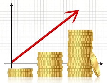 gold bar earn: Financial success concept - graph with coins  Vector  Illustration