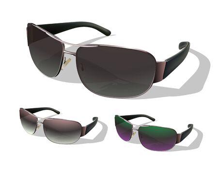 fashionable sunglasses: Set of Photo Realistic Fashionable Sunglasses  Vector illustration  Illustration