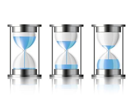 El agua que cae en el reloj de arena en tres estados diferentes Ilustración de vector