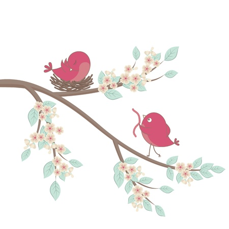 Lindos pájaros de color rosa en una rama con flores