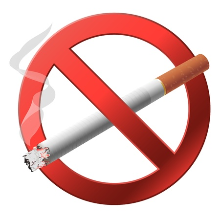 prohibido fumar: La señal de no fumar ilustración sobre fondo blanco