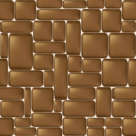 Seamless brown sleeken stone wall illustration  Vector