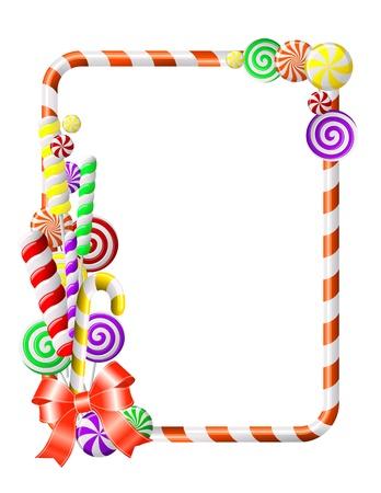 paletas de caramelo: Marco de dulce con la ilustraci�n de caramelos de colores