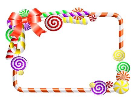 canne a sucre: Cadre doux avec une illustration color�e bonbons
