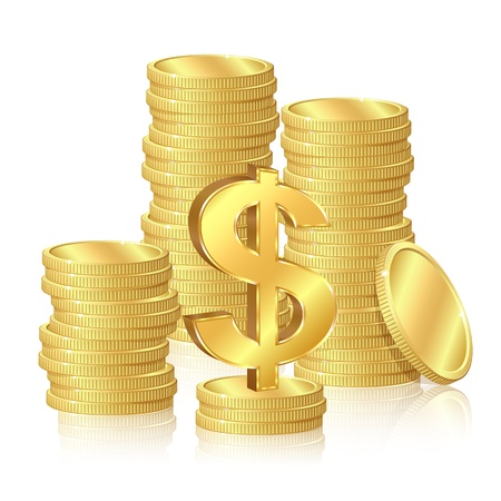 earn money: Stacks of gold coins and dollar signs