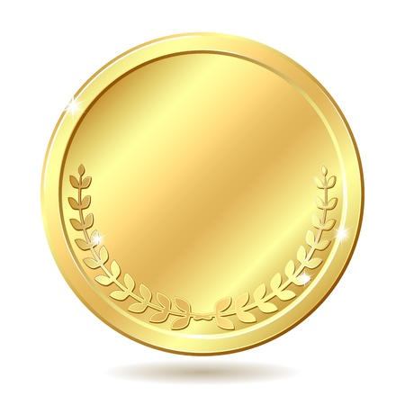 Gold coin  Vector illustration isolated on white background Vector