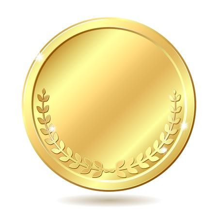 Złota moneta ilustracji wektorowych na białym tle Ilustracje wektorowe