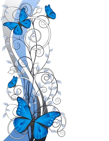 mariposa azul: tarjeta de decoración floral con ramas y mariposas