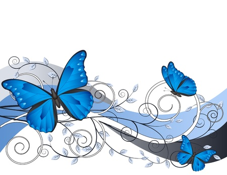 black butterfly: decorative floral card with  branches and butterflies Illustration