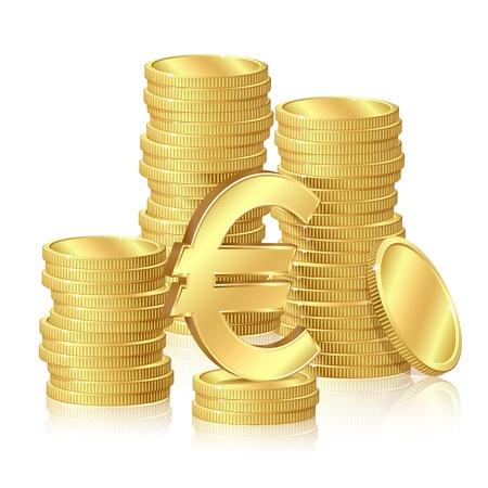 dinero euros: Pilas de monedas de oro y los signos del euro