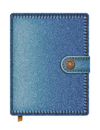 diary cover design: Blue denim notebook isolated on white background  Vector illustration Illustration
