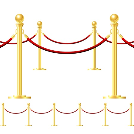 velvet rope: Seamless gold fence with red rope isolated on white Illustration