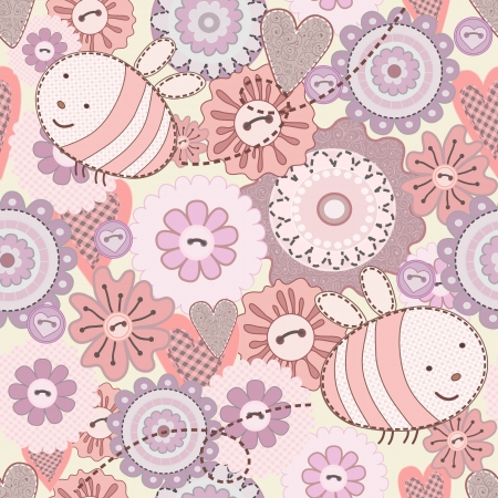 Seamless Cute Bee and Flowers  Patchwork on the white background  Vector