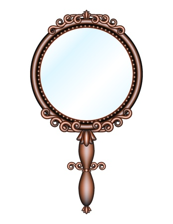 reflection in mirror: Antique retro hand mirror isolated on white background  Vector illustration