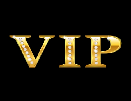 Vip card with golden letters and diamonds, vector illustration Vector
