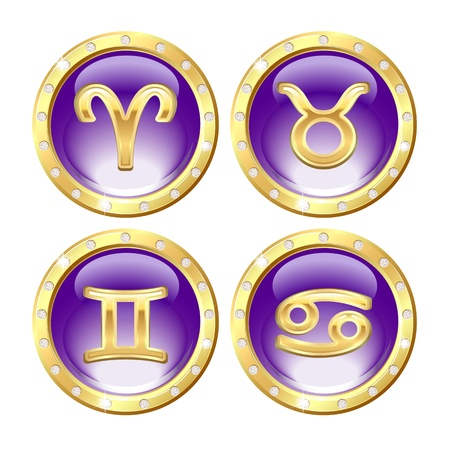 Set of the Golden Zodiac Signs - Aries, Taurus, Cancer, Gemini  Vector Vector