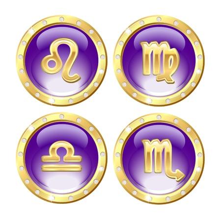 signes du zodiaque: Définir des signes du zodiaque or - Lion, Vierge, Balance, Scorpion Vecteur Illustration