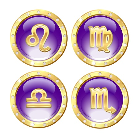 Set of the Golden Zodiac Signs - Leo, Virgo, Libra, Scorpio Vector Vector Illustration