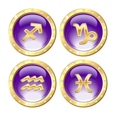 Set of the Golden Zodiac Signs - Sagittarius, Capricorn, Aquarius, Pisces  Vector Vector