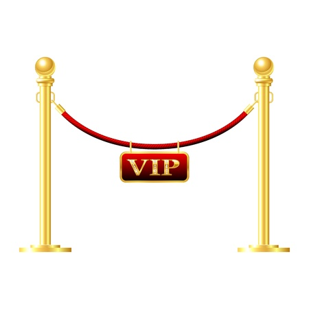 velvet rope barrier: Seamless gold fence with red rope isolated on white Illustration