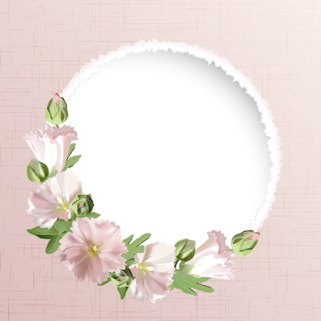 Floral card with mallow flowers background Vector
