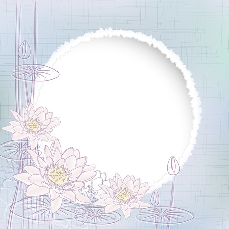 Background with Blooming Water Lilies illustration