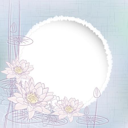 water lilies: Fondo con agua Blooming ilustraci�n Lirios Vectores
