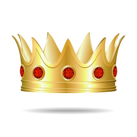 Gold crown with red gems Illustration Vector