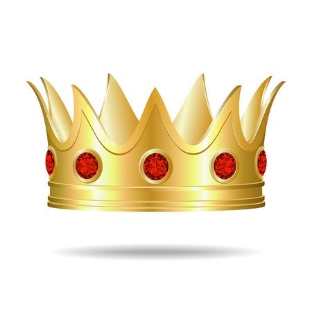 corona reina: Oro corona con gemas rojas Ilustración Vectores