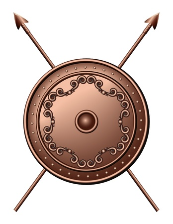 spear: Bronze shield and crossed spears illustration